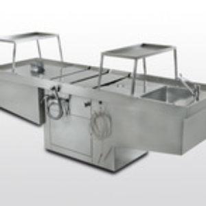 Masa autopsie din inox, cu inaltime reglabila si sistem de aspiratie